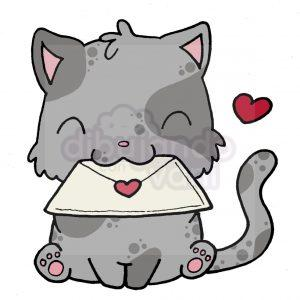 gato con carta kawaii