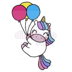 unicornio con globos kawaii