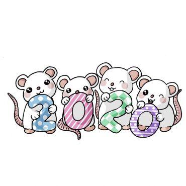Como dibujar Año 2020 kawaii