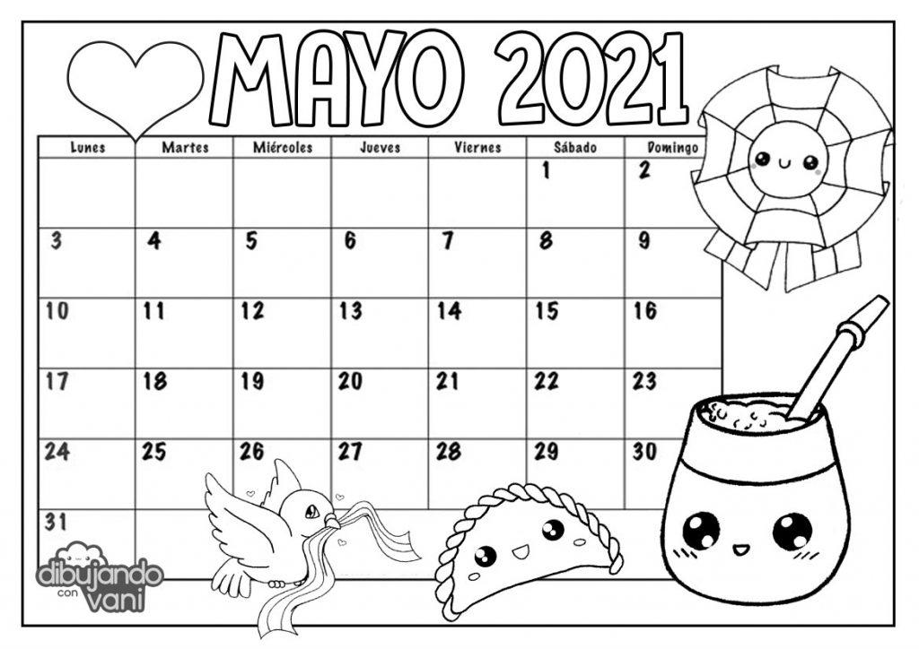 Mayo 2021 para imprimir y colorear- Calendario - Dibujando ...
