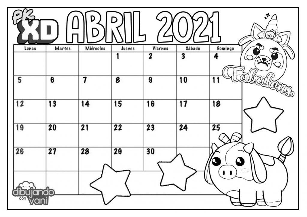 Abril 2021 PK XD Para Imprimir Calendario Dibujando