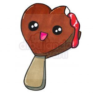 helado corazon de chocolate kawaii