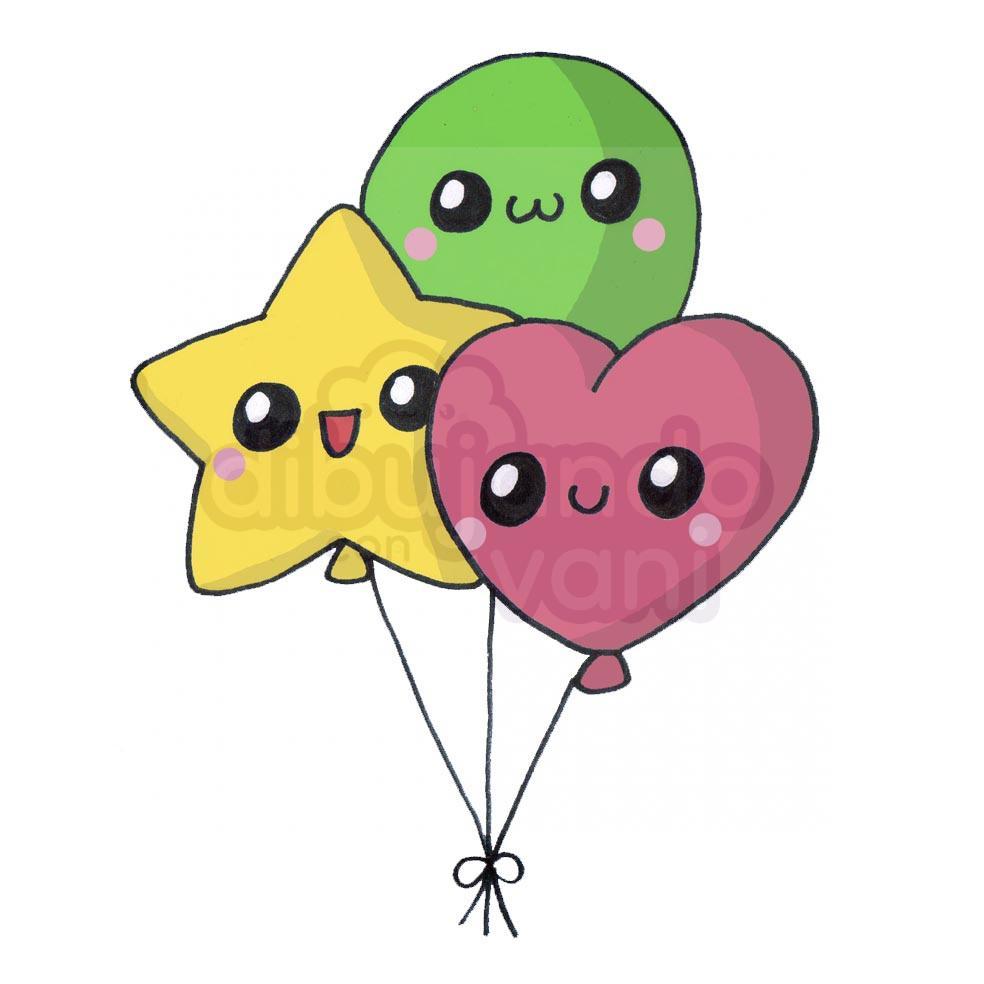 globos-kawaii - Dibujando con Vani