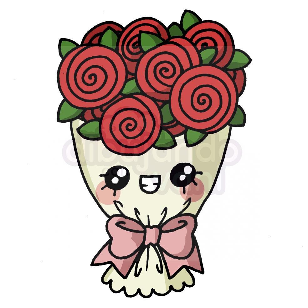 ramo-de-flores-kawaii - Dibujando con Vani