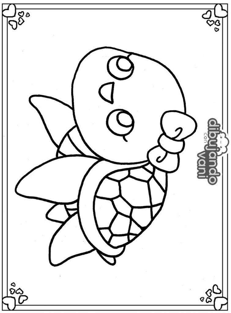 Dibujo de una tortuga marina para imprimir y colorear ...