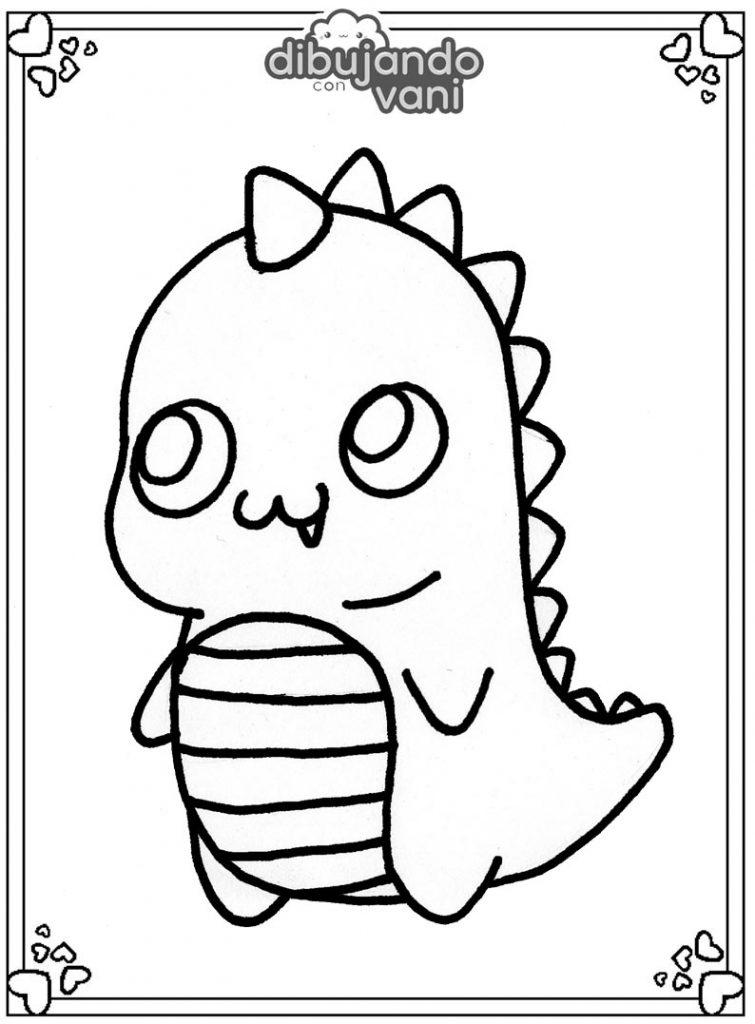 Dibujo De Un Dinosaurio Para Imprimir Y Colorear Dibujando Con Vani Un dinosaurio on tres cuerno y una especie de collar macizo que le servía para defenderse de otros dinosaurios más. dibujo de un dinosaurio para imprimir y
