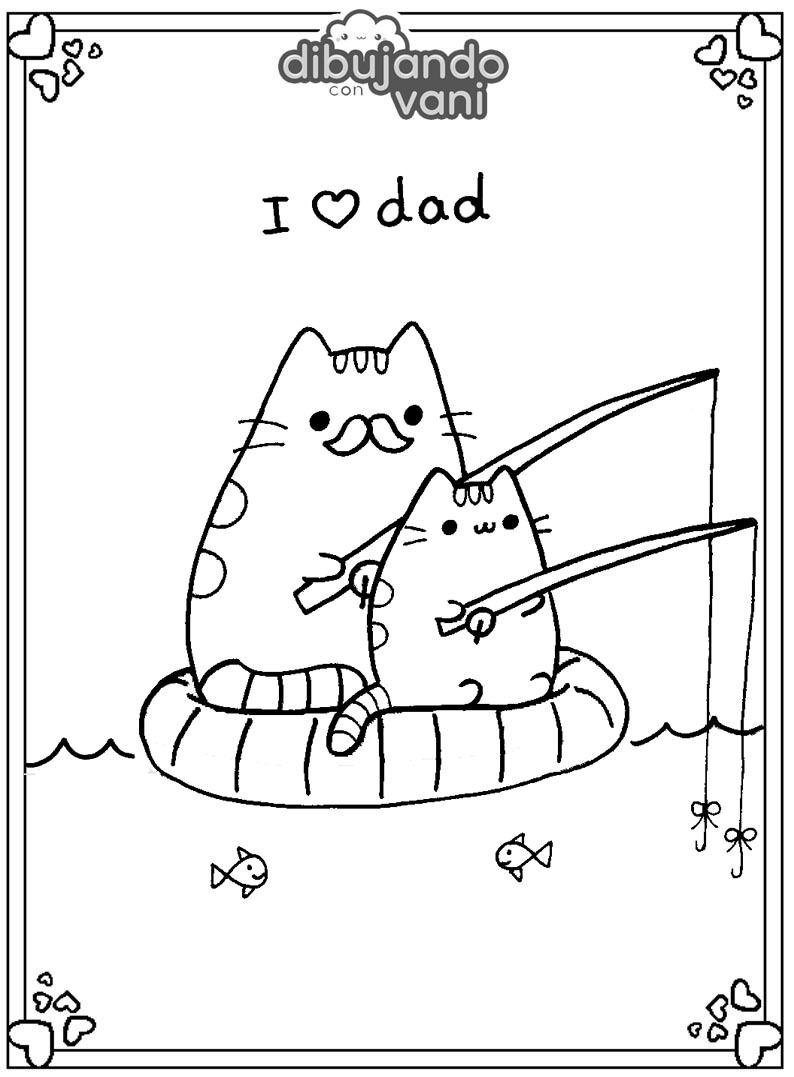 pusheen con su papa para imprimir - Dibujando con Vani