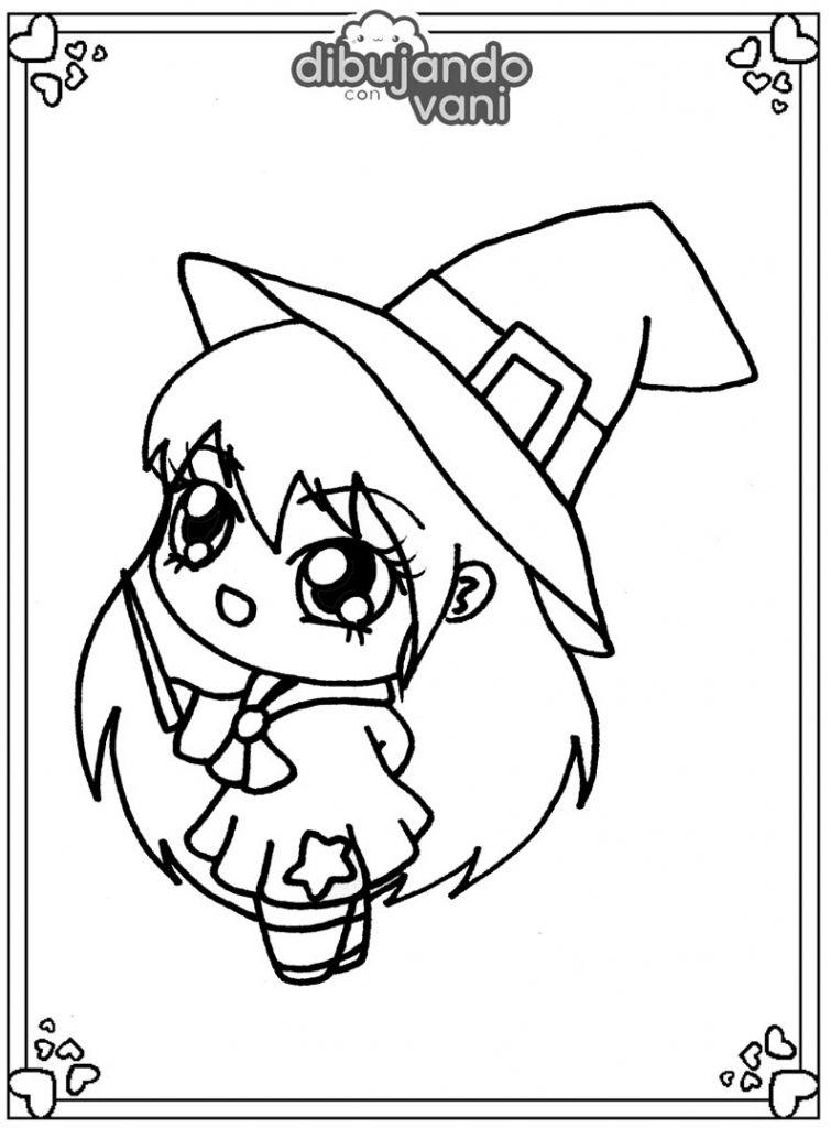Dibujo de una bruja kawaii para imprimir