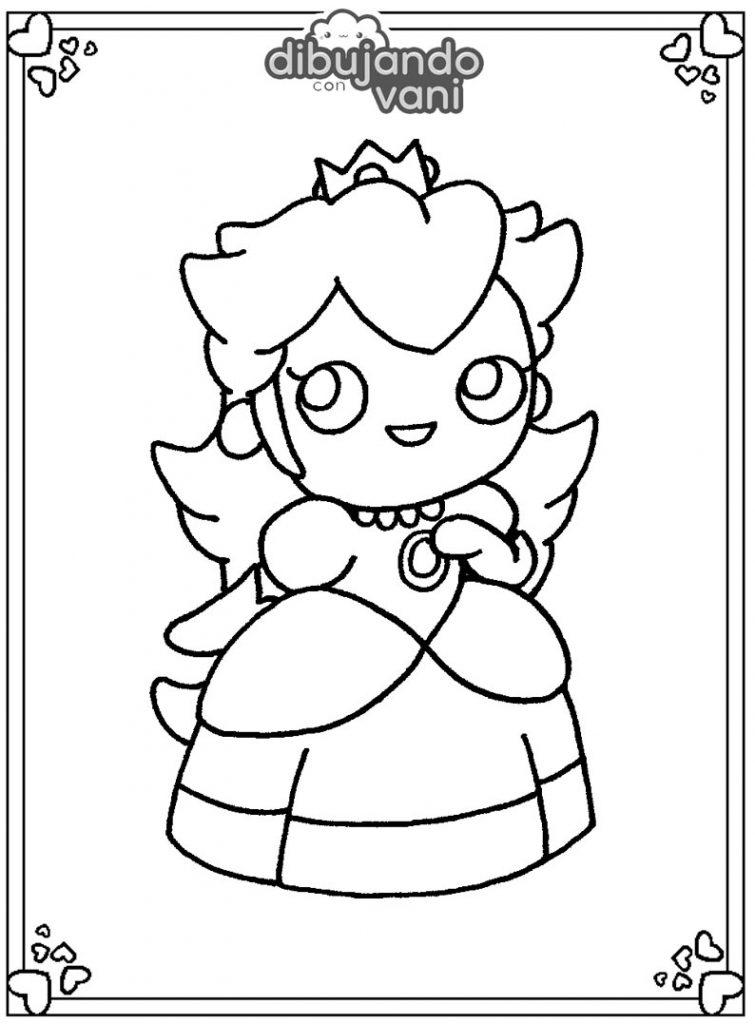 Dibujo de la princesa Peach para imprimir y colorear