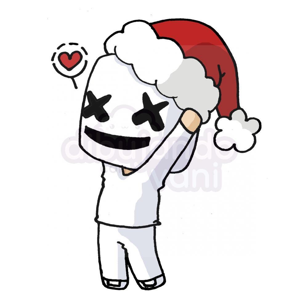 Marshmello Navidad Kawaii Dibujando Con Vani