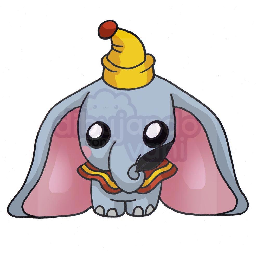 Dumbo kawaii para colorear - Dibujos de Disney - Dibujando ...