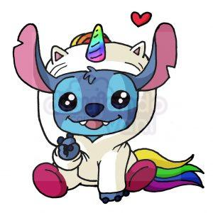 stitch unicornio kawaii